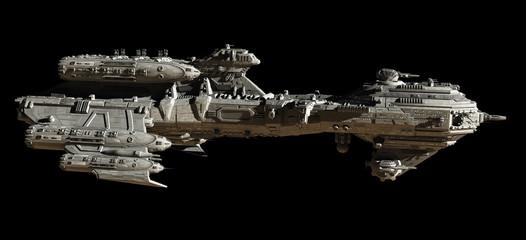 Interstellar Escort Frigate Spaceship, side view - science fiction illustration