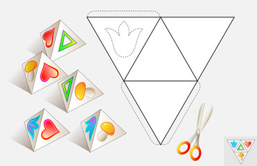 Logic puzzle. Draw the relevant images on the pattern, color and make by pyramid (as shown on the samples). Vector image.
