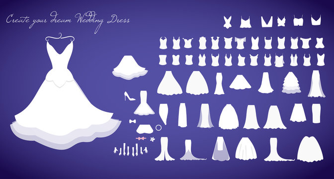 Wedding dresses collection vector