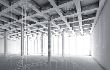 3d empty interior with wire frame effect