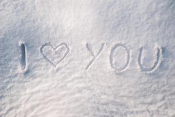 I love you - handwritting on snow