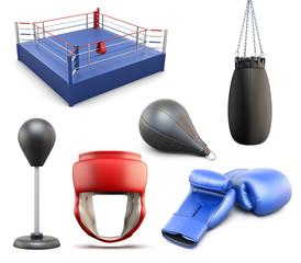 Set of Boxing. 3D illustration on white background