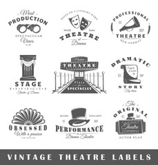 Set of theatre labels. Elements for design on the theatre theme. Collection of theatre symbols: stage, mask, curtain. Modern labels of theatre. Emblems and logos of theatre. Vector illustration