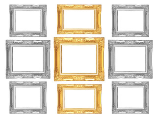 Set of golden and gray vintage frame isolated on white backgroun