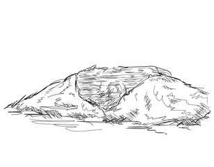 Mountain peak. Hand drawn, vector illustration