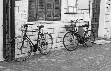 Two bicycle close-up.