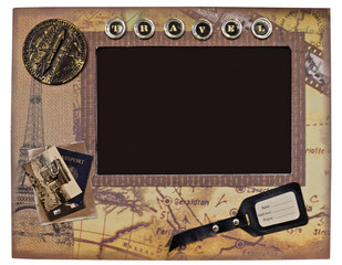 Decorative vintage photo frame for travel photos