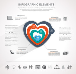 Valentines day heart infographics