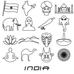 india country outline theme symbols set eps10