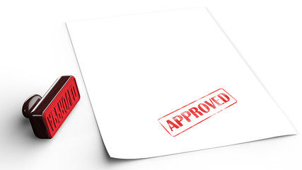 Approved Rubber Stamp and paper on isolated white background