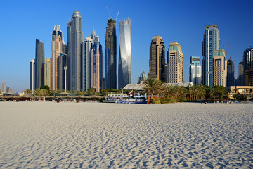 Skyscrapers of Dubai Marina from Marina beach
