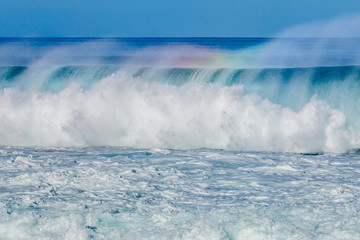 Beautiful wave action on Oahu's North Shore in Hawaii