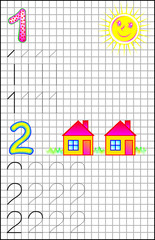 Educational page for children on a square paper with numbers 1 and 2. Developing skills for counting and writing. Vector image.