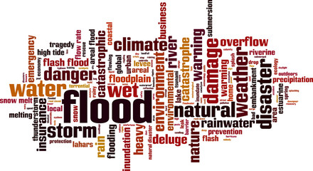 Flood word cloud concept. Vector illustration
