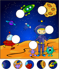 Astronaut, martians and rocket in the space. Complete the puzzle