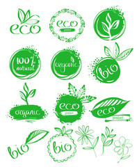 Green tablets with inscriptions. Ecology vector illustrations.