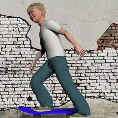 digitally rendered illustration of a young boy on a skate board