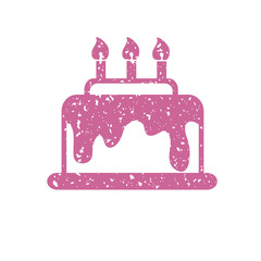 Pink cake with candles, vector icon