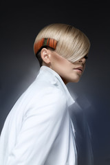 Blond model with a modern hairtyle