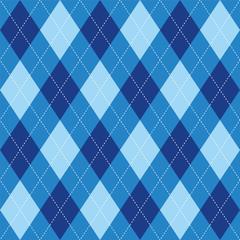 Argyle pattern blue rhombus seamless texture, illustration