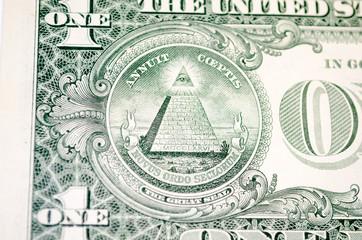 Macro shot of a 1 dollar