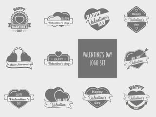 Valentines day set of label, badges, stamp and design elements on white background