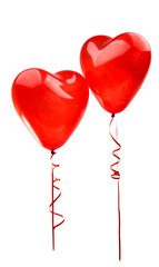 red balloon heart isolated on white background