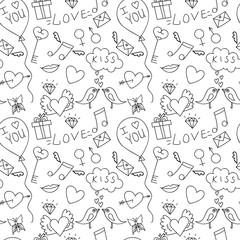 Hand drawn love seamless patternfor St. Valentine'a day, for adu