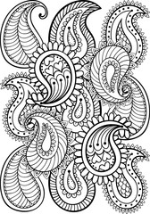 Hand drawn paisley pattern for adult coloring page A4 size in do