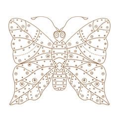 Zentangle stylized brown Butterfly