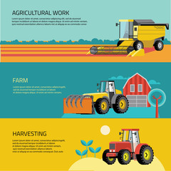 Vector set of agricultural vehicles and farm machines. Tractors, harvesters, combines.