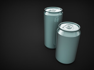 pair metallic soda cans