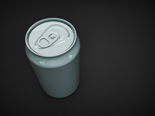 empty blank can on dark isolated background