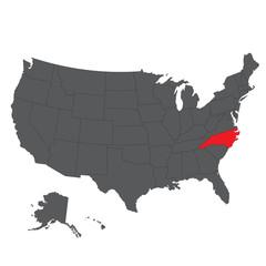 North Carolina red map on gray USA map vector