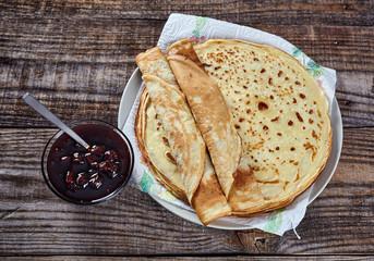 Pancakes filled with dark cherry jam