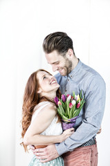 love couple with flowers