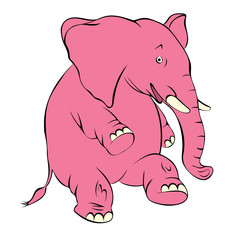Illustration of a cheerful pink elephant. The elephant costs on a hind leg and smiles