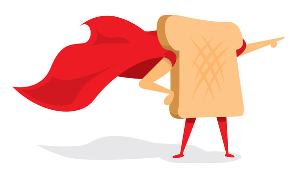 Bread or toast super hero with cape