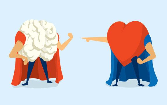 Battle between heart and brain super heros