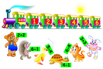 Exercises for children - need to help animals to find the correct wagon of train. Connect them by line. Developing skills for counting. Vector image.