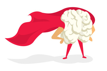 Brain super hero with cape proudly standing
