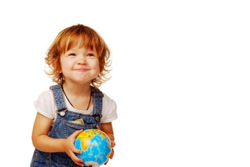 Caucasian Cute little girl in the age of two years holding a globe isolated on  white background, early education concept