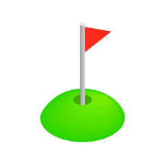 Red golf flag isometric 3d icon