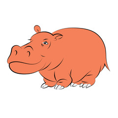 Illustration of a cheerful orange hippopotamus