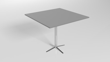 Square metal table, furniture isolated on white background