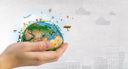 Wall Mural - Future of our planet in your hands