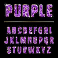 Glitter alphabet purple