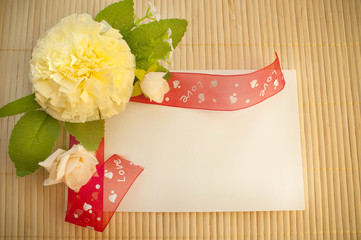 design greeting cards with flowers and ribbon