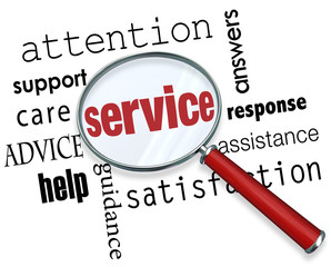 Service Magnifying Glass Word Attention Care Support Help Assist