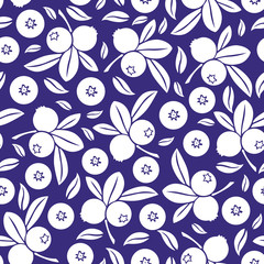 Blueberry seamless pattern on blue background